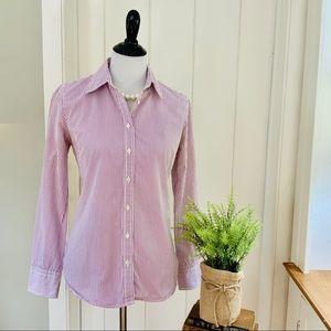 J CREW Lavender & White Striped Button Down Shirt